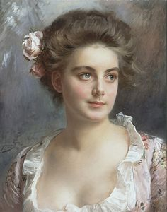 """An Elegant Portrait"" - Gustave Jean Jacquet (French, 1846–1909), oil on canvas {figurative realism art beautiful female bust young woman face painting #arthistory #nineteenthcentury}"