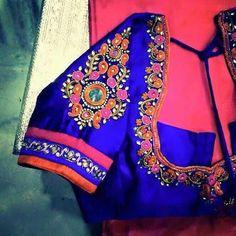 To order, pls whatsapp on 94929 91857 Wedding Saree Blouse Designs, Silk Saree Blouse Designs, Choli Designs, Fancy Blouse Designs, Blouse Neck Designs, Sleeve Designs, Blouse Styles, Maggam Work Designs, Hand Work Blouse Design