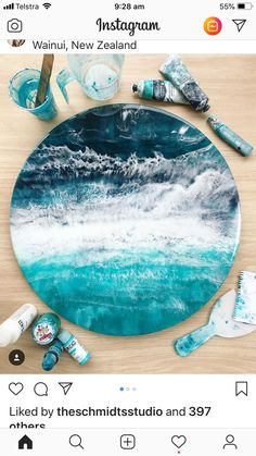 Excited to share this item from my shop: At the ocean beach teal blue sand and mica epoxy resin art painting on canvas acrylics custom order Resin cheese boards from Eumundi Markets - Salvabrani Image gallery – Page 121175046208852596 – Artofit Acrylic Pouring Art, Acrylic Art, Acrylic Resin, Epoxy Resin Art, Diy Resin Crafts, Resin Artwork, Pour Painting, Painting Process, Painting Tips