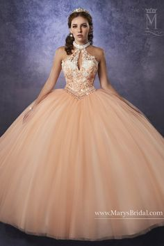a3a001131f6 Halter tulle quinceanera ball gown with beaded choker