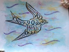 Arabic calligraphy hand-drawn original by TheEnchantedGeode