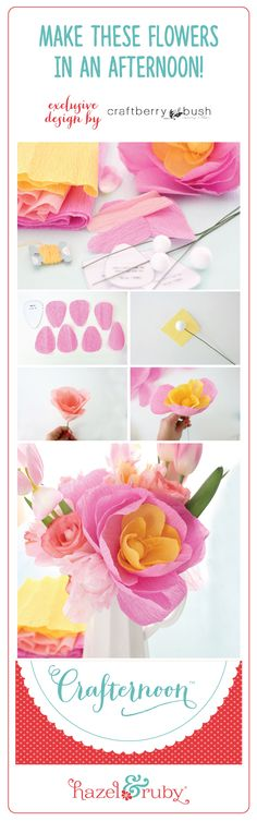 Crepe paper flower kit. Includes materials to make 6 flowers. Available at Joann Stores.