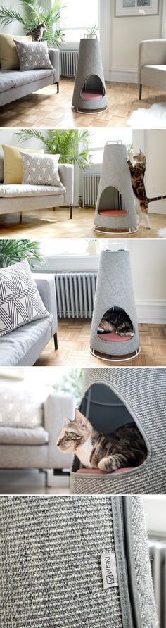 No more shredded sofas. The Cone is the world's most beautiful scratching post and nap space for your cat! It works so well because it takes direct inspiration from nature. The large cats often have a habit of scratching the barks of trees, to mark their Grand Chat, Diy Möbelprojekte, Ideal Toys, Pet Furniture, Furniture Ideas, Bedroom Furniture, Furniture Design, Furniture Inspiration, Quality Furniture