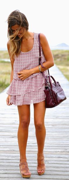 .What makes a dress really nice? A two-tiered skirt? Nice print? A sweet lilac color? A great hemline? This Dress has it all !!