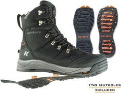 With two types of outsoles included (one is studded), the Korkers Snowjack boots…
