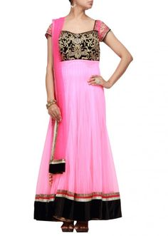 Neon pink anarkali suit with embroidery