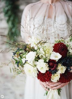 Those flowers though Elegant industrial winter wedding inspiration