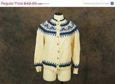 Husfliden 454  vintage Norwegian Cardigan - 60s Wool Sweater - Blue and Ivory Fair Isle Sweater