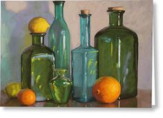 Bottles Greeting Card by Sarah Blumenschein