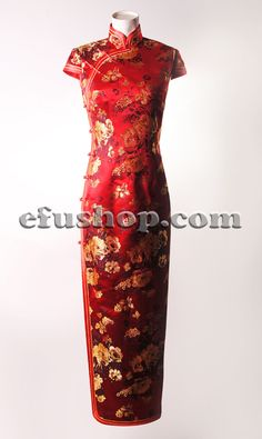 Red peonys long cheongsam dress SCT268 - Custom-made Cheongsam,Chinese clothes, Qipao, Chinese Dresses, chinese clothing,EFU Tailor Shop