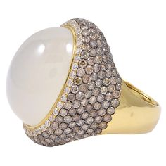 1stdibs - Moonstone White and Chocolate Diamond Ring explore items from 1,700  global dealers at 1stdibs.com