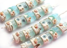 Blue beachy handmade lampwork glass beads with shells by MayaHoney #bead #shell #beachy #glass #beadset #handmade #lampwork #mayahoney