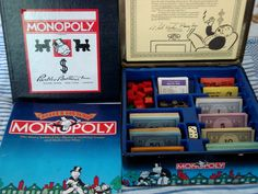 COMPLETE 1935 COMMEMORATIVE EDITION MONOPOLY TIN BOX GOLDEN TOKENS WOOD HOUSES #PARKERBROTHERS
