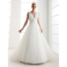 A-line V-neck Floor-length Tulle Wedding Dress  – USD $229.99 custom made  lightinthebox.com