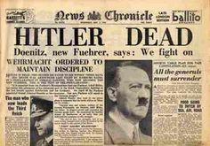 May 2, 1945 Headline - Article claims Hitler died in ambush.  He actually committed suicide.