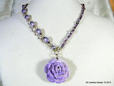 Porcelain Rose Pendant Necklace with Amethyst by SDJewelryDesign16