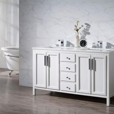 The chic and contemporary Stufurhome Emily 59 in. Double Sink Bathroom Vanity upgrades the look and offers ample storage space. The bathroom vanity. White Bathroom Decor, Small Bathroom Vanities, Single Bathroom Vanity, Bath Vanities, White Decor, Modern Shower, Home Decor Pictures, Lowes Home Improvements, Vanity Set