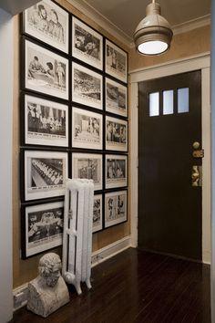 Entryway wall gallery of photos Tall Wall Decor, B&w Wallpaper, Photowall Ideas, Entryway Wall, Front Hallway, Entry Hall, Upstairs Hallway, Entryway Ideas, Front Entry