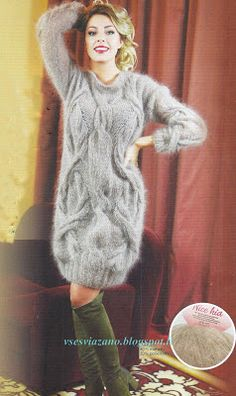Lover of angora and mohair worn by women . Grey Sweater Dress, Wool Dress, Sweater Outfits, Knit Dress, Gros Pull Mohair, Angora Sweater, Dress Patterns, Wool Sweaters, Knitwear