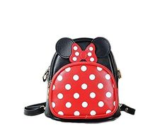 Finex Minnie Mouse style Small 2in1 Crossbody bag Mini Backpack  Multifunction Travel Mini Handbag with Long Shoulder Strap RedBlack >>> More info could be found at the image url.