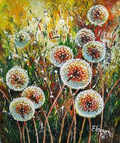 Made to order. This is an original palette knife acrylic painting. NOT PRINT. Free frameless shipping. Size 23.6x19.7 inch (60x50 cm) This product is done on order based on the size preferences you choose. Dandelion wall art will add style to any home. Dandelion painting executed with