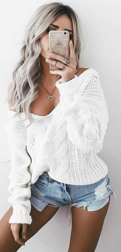 #summer #trending #outfits | Vacation Style + Chinky Knit + Denim