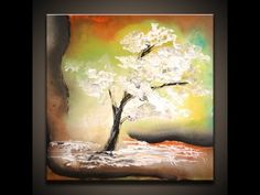 painting...White Tree, how to paint a tree simple abstract art painting techniques by Peter Dranitsin