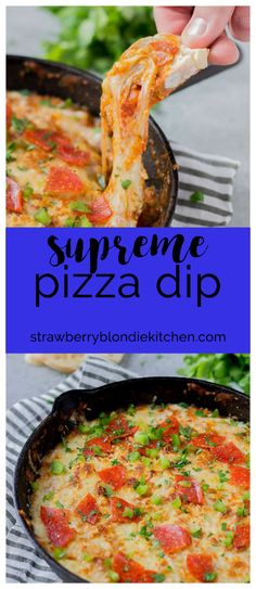 Supreme Pizza Dip is an ooey, gooey, cheesy dip sure to please everyone! Filled with your favorite pizza toppings, it's sure to be a crowd pleaser!  Strawberry Blondie Kitchen