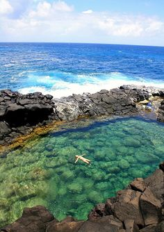 Queens Bath Kauai hawaii, North shore near Princeville. Jumping in was a blast not as shallow at it looks