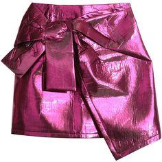 a64b6525eb Hot Pink Metallic Asymmetric Hem Mini Skirt ($42) ❤ liked on Polyvore  featuring skirts, mini skirts, bottoms, zip back skirt, short mini skirts,  ...