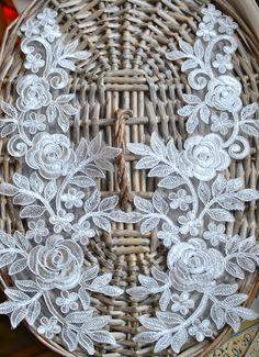 38cm cm x 17cm off white lace applique/patch trim I Bridal/wedding lace applique I Decorative applique I Patches  I Sew on applique/patch by SixthCraft on Etsy