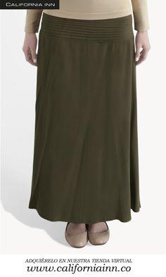 Falda larga unicolor con alforzas en tela viscosa. Tallas: S-M-L
