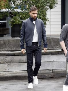 American Singer Liam Payne Stylish Black Jacket Color: Black Material: Real Leather Inspired by: Liam Payne Collar: Ribbed Standup Round Collar Sleeves: Full Sleeves with Ribbed Cuffs Pockets: Flap Pockets on Chest and Waist Liam James, Liam Payne, Anthony Mackie, Love U Forever, Bike Wear, Stylish Jackets, Our Girl, American Singers, Real Leather