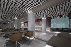 Kitchen bar restaurant plan and design Restaurant Plan, Interior Design And Construction, Cyprus, Conference Room, Ceiling, Bar, How To Plan, Kitchen, Furniture