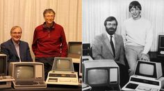 Original Microsofties Bill Gates and Paul Allen looking sharp in 1981 and 2013