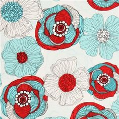 white flower fabric by Robert Kaufman red teal - Valentina Ramos flower fabric with red, teal and light blue flowers from the USA Light Blue Flowers, Teal Flowers, Fabric Flowers, Textile Patterns, Flower Patterns, Print Patterns, Textiles, Red And Teal, Red Turquoise