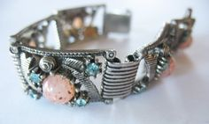 Victorian Revival Bracelet Glass Rhinestone by gussiegurl on Etsy
