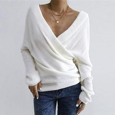 Solid Knitted Wrap Long Sleeve Sweater without Necklace Black USD – Modern Styles Casual Tops For Women, Sweater Fashion, Clothes For Sale, Long Sleeve Sweater, Types Of Sleeves, Fashion Brand, Sleeve Styles, Fashion Outfits, Ladies Fashion
