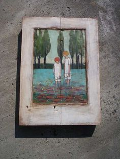 Fishing  Rustic Decorative Wall Hanging Hand Painted by Popielnik, $298.00