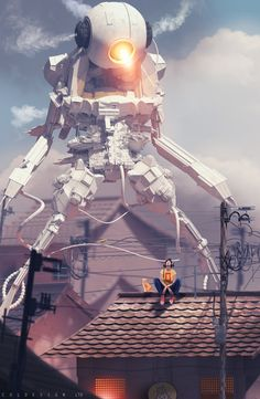 ArtStation - a cat and his robot, col price