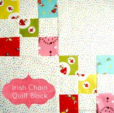 irish chain quilt block tutorial #quiltblock patchwork posse ~ A quick tutorial for a simple traditional block with so many design possibilities! The possibilities are endless with thousands of fabrics to choose from at the Fabric Shack at http://www.fabricshack.com/cgi-bin/Store/store.cgi