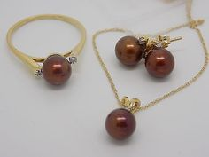 3 Piece Pearl Jewelry set Ring Earrings Necklace Brown Freshwater Pearl 14k NEW