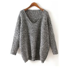 V Neck Chunky Knit Grey Dolman Sweater (€18) ❤ liked on Polyvore featuring tops, sweaters, jumper, grey, acrylic v neck sweater, sweater pullover, acrylic sweater, pullover sweater and loose pullover sweater