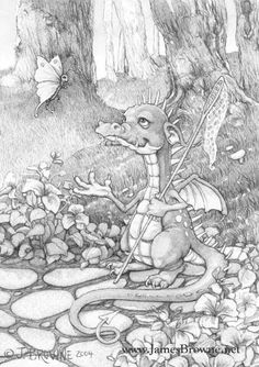 Spike by James Browne * Dragon Fantasy Myth Mythical Mystical Legend Dragons Wings Sword Sorcery Magic Coloring pages colouring adult detailed advanced printable Kleuren voor volwassenen coloriage pour adulte anti-stress kleurplaat voor volwassenen Line Art Black and White