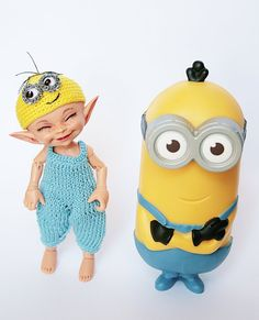 Knitted outfit Minion for Realpuki and dolls similar by NataLitun