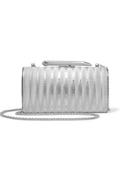 KOTUR  Bailey embossed silver-tone clutch