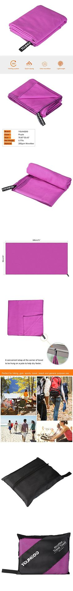 Youngdo Microfibre Towel Travel Towel 180 x 90cm - Quick Dry,Lightweight,Absorbent and Compact with Bag -Sports Towel for sports, gym,golf ,camping, swimming, yoga (Purple)