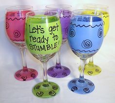 Lets get ready to Stumble Funny Wine Glass by FunnyWineGlasses