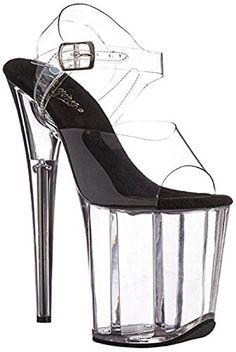 Pleaser Adore 709 Black Patent Open-Toe Pole Dance Ankle Strap Platform Sandals