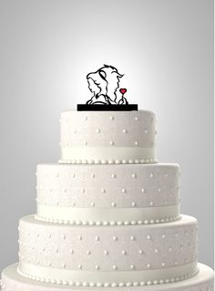 This Precious Beauty and the Beast Silhouette Wedding Cake Topper is a tender and unique way of expressing your love on your special day. This is a